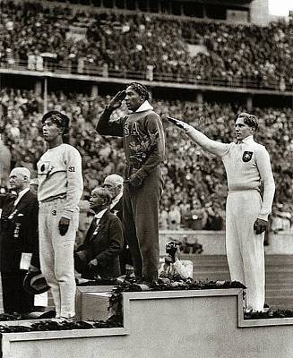 Gold Medal Winner Jesse Owens Saluting While German Gives Nazi Salute Olympics Berlin 1936 Art Print