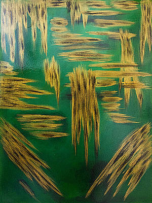 Painting - Gold Metallic Abstract by Renee Anderson