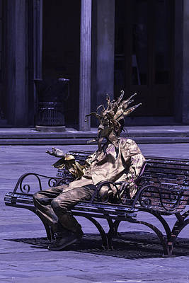 New Orleans Jackson Square Photograph - Gold Mime On Bench by Garry Gay