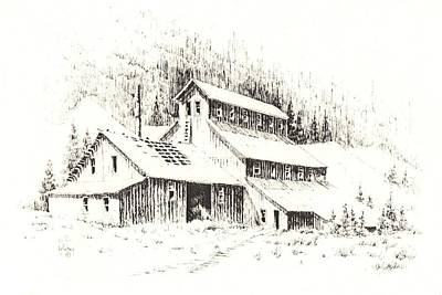 Drawing - Gold Mine Cable Ghost Town Montana by Kevin Heaney