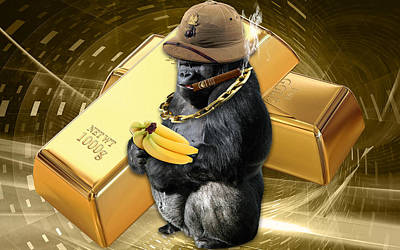 Gorilla Mixed Media - Gold Miner by Marvin Blaine