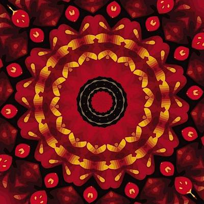 Digital Art - Gold On Red Mandala by Tracey Harrington-Simpson