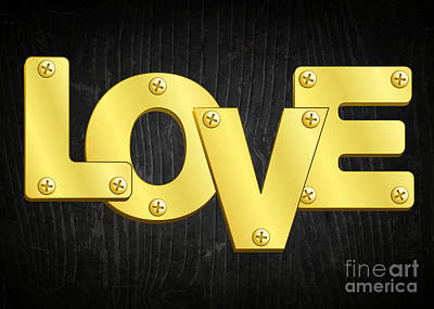 Digital Art - Gold Plated Love by JH Designs