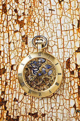 Photograph - Gold Pocket Watch On Rusty Table by Garry Gay