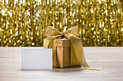 Photograph - Gold Present And Place Card by Ulrich Schade