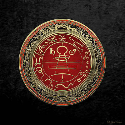 Digital Art - Gold Seal Of Solomon - Lesser Key Of Solomon On Black Velvet  by Serge Averbukh