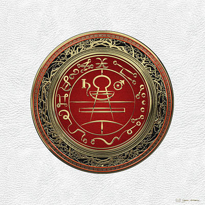 Digital Art - Gold Seal Of Solomon - Lesser Key Of Solomon On White Leather  by Serge Averbukh