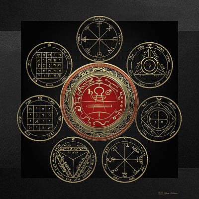 Holy Digital Art - Gold Seal Of Solomon Over Seven Pentacles Of Saturn On Black Canvas  by Serge Averbukh