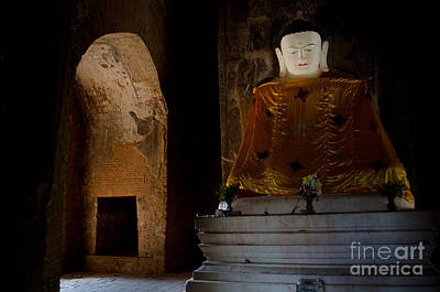 Gold Shrouded Buddha In Burma Basks In Natural Light By Temple Portal Art Print
