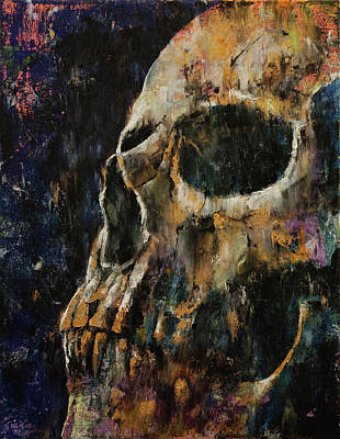 Drip Painting - Gold Skull by Michael Creese