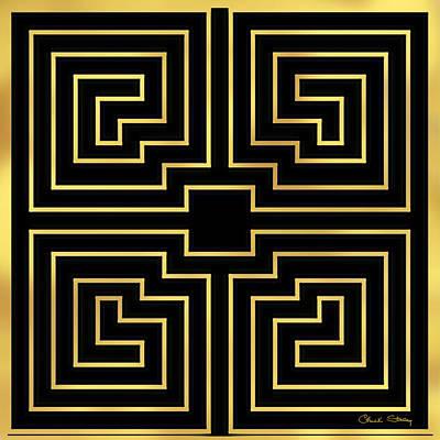 Digital Art - Gold Stripes On Black by Chuck Staley