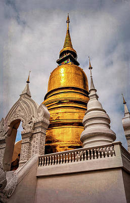 Photograph - Gold Stupa by Maria Coulson