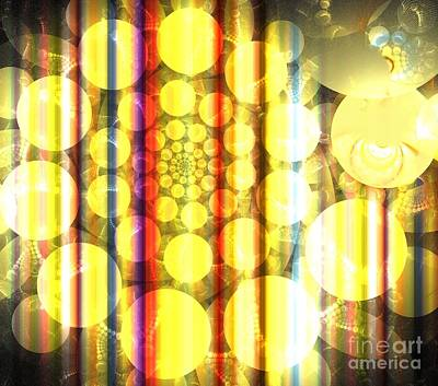 Digital Art - Gold Sunshine Spiral by Kim Sy Ok
