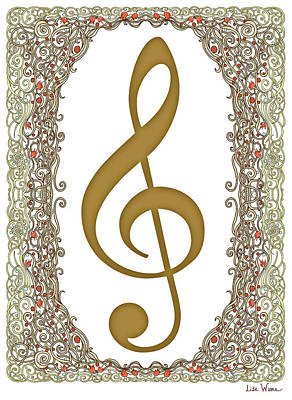 Digital Art - Gold Treble Clef With Gold Border by Lise Winne