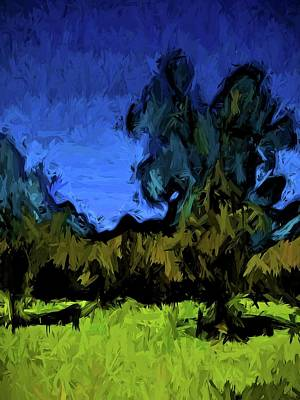 Digital Art - Gold Trees In The Blue Wind by Jackie VanO
