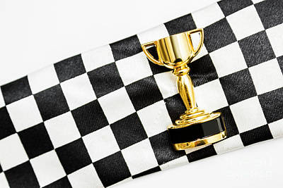 Close Up Horses Photograph - Gold Trophy On A Checked Sport Flag by Jorgo Photography - Wall Art Gallery