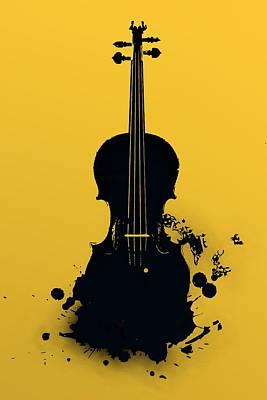 Music Digital Art - Gold Violin by Alberto RuiZ