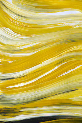 Painting - Gold Waves Abstract by Christina Rollo