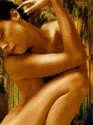 Painting - Gold Woman Nude Crop 2 by Tony Rubino