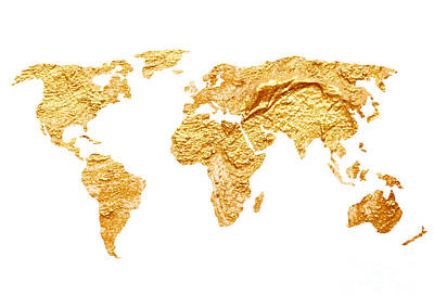 Gold World Map Watercolor Painting Art Print by Joanna Szmerdt