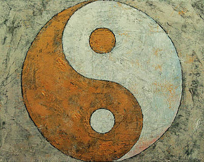 Contemporary Symbolism Painting - Gold Yin Yang by Michael Creese