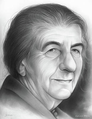Politicians Drawings - Golda Meir by Greg Joens