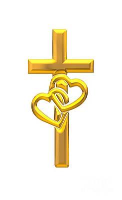 Digital Art - Golden 3d Look Cross With 2 Hearts by Rose Santuci-Sofranko