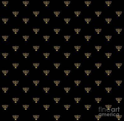 Digital Art - Golden 3d Look Menorah On Black Background by Rose Santuci-Sofranko