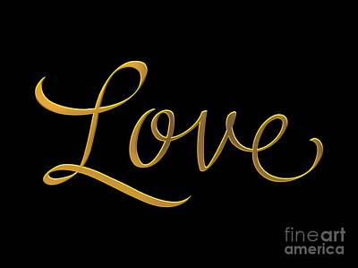 Digital Art - Golden 3d Look Script Of The Word Love by Rose Santuci-Sofranko