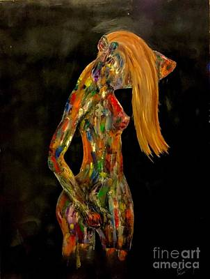 Hand On Head Painting - Golden Abstract by Clifford Laing