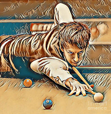 Billiards Hall Digital Art - Golden Abstract Of A Pool Player by Pd