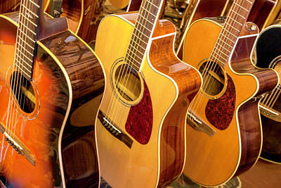 Photograph - Golden Acoustic Guitars by Lynn Palmer