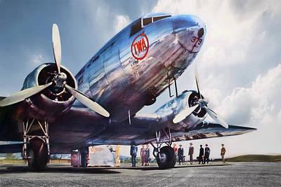 Golden Digital Art - Golden Age Aviation Dc-3 by Peter Chilelli