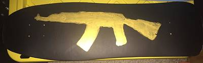Ak-47 Painting - Golden Ak Skateboard by Zach Therrien