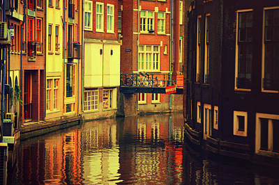 Photograph - Golden Amsterdam Reflections by Jenny Rainbow