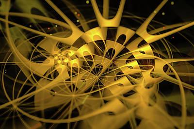 Digital Art - Golden And Black Fractal Abstract by Matthias Hauser