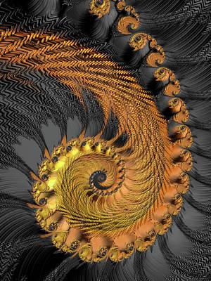 Digital Art - Golden And Black Fractal Spiral by Matthias Hauser