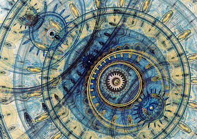 Digital Art - Golden And Blue Clockwork by Martin Capek