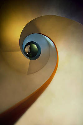 Golden And Brown Spiral Staircase Art Print
