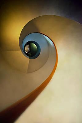 Golden And Brown Spiral Staircase Art Print by Jaroslaw Blaminsky