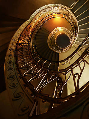 Golden And Brown Spiral Stairs Art Print by Jaroslaw Blaminsky