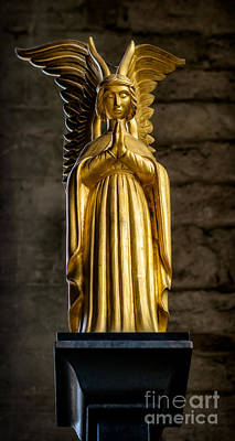 Religious Statue Photograph - Golden Angel by Adrian Evans