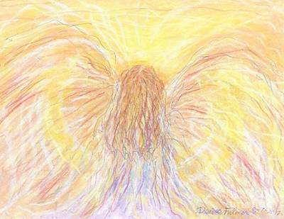 Drawing - Golden Angel by Denise Fulmer