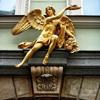 Photograph - Golden Angel In Prague by John Rizzuto