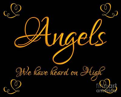 Digital Art - Golden Angels We Have Heard On High With Hearts by Rose Santuci-Sofranko