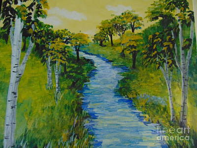 Art Print featuring the painting Golden Aspens by Saundra Johnson