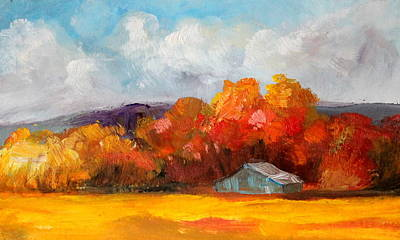 Painting - Golden Autumn Blue Country Horse Barn by Michele Carter