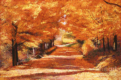 Fallen Leaf Painting - Golden Autumn by David Lloyd Glover