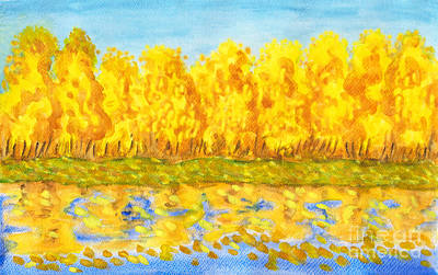 Painting - Golden Autumn Forest , Painting by Irina Afonskaya