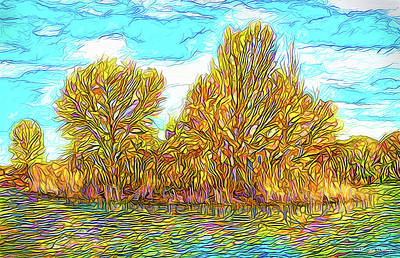 Digital Art - Golden Autumn Island - Lake In Boulder County Colorado by Joel Bruce Wallach